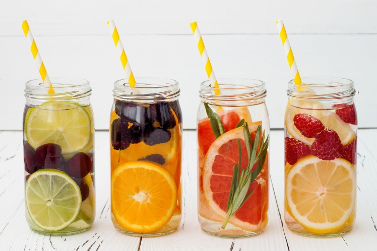Detox fruit infused flavored water. Refreshing summer homemade c